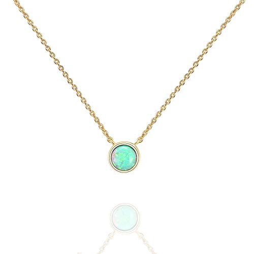 PAVOI 14K Yellow Gold Plated Round Created Green Opal Necklace   Opal Necklaces for Women