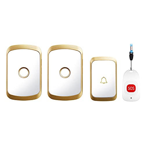 Timbre inalámbrico inteligente para el hogar de Pager, alarma de emergencia, impermeable, botón SOS, 80 m, mando a distancia, inalámbrico, timbre 60 campanas de China, dorado, 1 x 2 x SOS_UNS