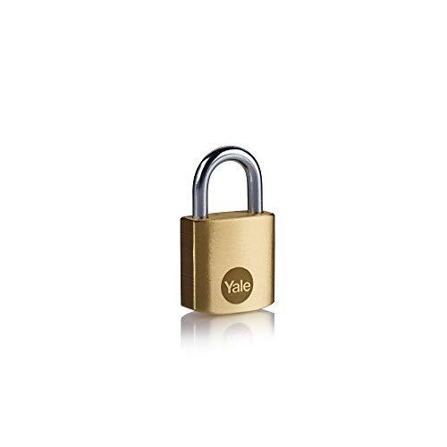 Yale Y110B/25/113/1 - Brass Padlock (25 mm) - Indoor Lock for Locker, Backpack, Tool Box - 3 Keys - Standard Security
