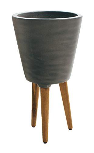 Teramico Blumentopf Pflanzgefäß Rund 30cm Grau und Anthrazit mit Standfüßen/Holzfüßen -sehr modern und elegant- (GRAU)