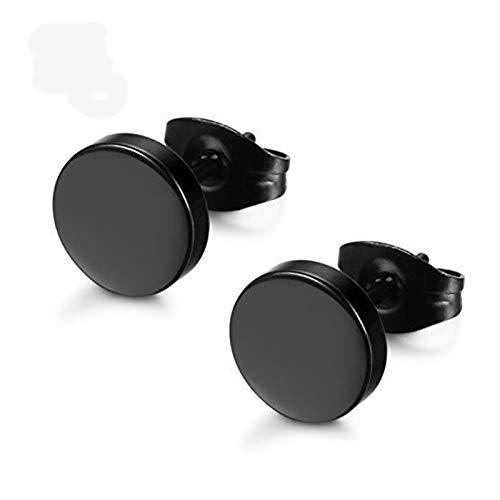 1 par de acero inoxidable pernos prisioneros del oído Pendientes Negro plateado de forma redonda con la mariposa de cierre empuje hacia atrás pendientes pendientes de las mujeres de los hombres