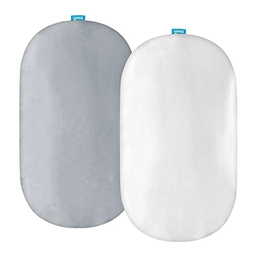 Satin Bassinet Sheets Fit for Rectangle, Hourglass, Oval Bassinet Mattress, 2 Pack, Great Protect for Baby Hair and Skin, Ultra Soft Satin Cradle or Bassinet Sheets, White & Gray