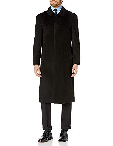 Prontomoda Men's Single Breasted Black Luxury Wool/Cashmere Full Length Winter Topcoat, Size Long 42
