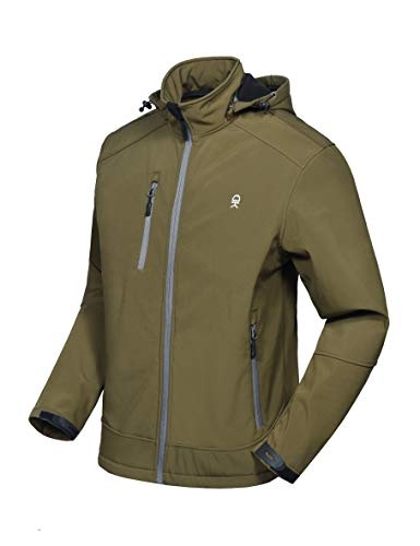 Little Donkey Andy Men's Softshell Jacket with Removable Hood, Fleece Lined and Water Repellent Olive Size XL