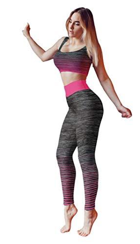 Bonjour - Abbigliamento sportivo da donna/canotta e leggings (set da 2 pezzi, top e leggings), set da palestra o per yoga, elasticizzato, Pink Crop Top, One Size ( UK 8 - 14 )