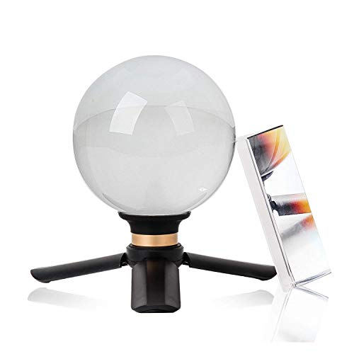 Crystal Ball and Triangular Prism Photography Lens Ball Sphere with Suction Cup Tripod Stand Base K9 Optical Crystal Photography Kits Teaching Light Spectrum Physics Padded Case Gift Box 90mm