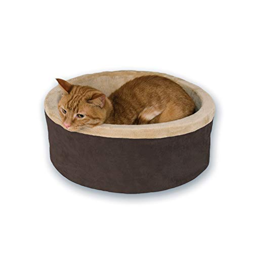 "K&H Pet Products Thermo-Kitty Heated Pet Bed Small Mocha 16"" 4W"