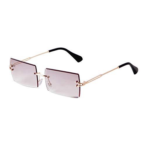 ADE WU Rechteck Randlose Sonnenbrille Ultra-Small Ovale Frame Sonnenbrille Retro Durchsichtige Linse für Frauen Männerchtige Linse f¨¹r Frauen M?nner