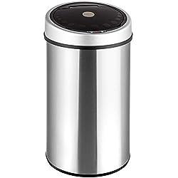 TecTake Papierkorb / Mülleimer mit Öffnungssensor–verschiedene Größen Acero inoxidable 50L | No. 400362