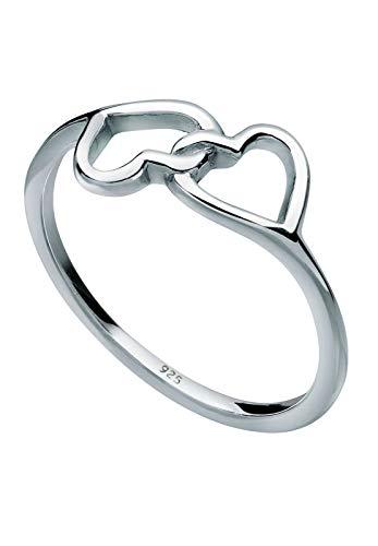 Elli Ring Damen mit Herz Symbol Verbunden in 925 Sterling Silber
