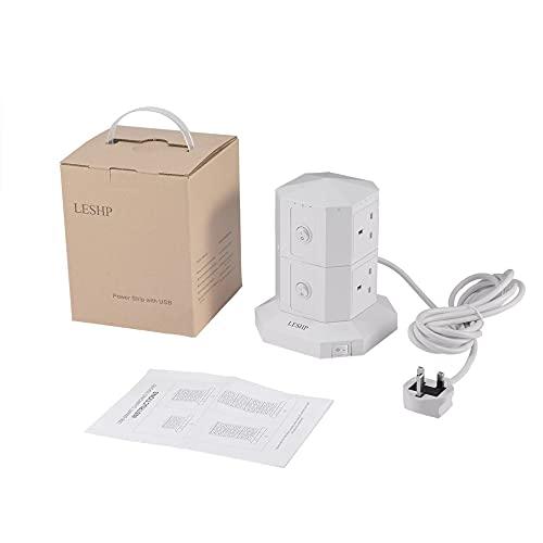 Enchufe de carga inteligente USB 2 capas 6 puertos USB Carga rápida Tira de alimentación Cable 3M Prevención contra sobretensiones Ahorro de energía
