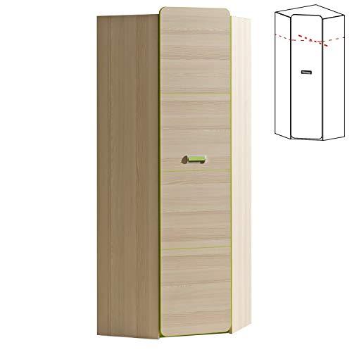 Furniture24 Eckkleiderschrank LORENTO L14 Schrank Drehtürenschrank 1 Türiger Kleiderschrank Eckschrank mit Kleiderstange (Esche Coimbra/Lime Grü)