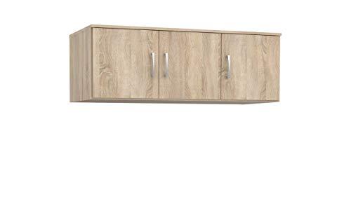 Furniture24 Aufsatz NIKO NIKN83 für Kleiderschränke mit 3 Türen (Sonoma Eiche)