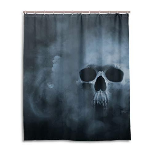 JSTEL Decor Duschvorhang mit gruseligen Totenkopf-Mustern bedruckt, 100 prozent Polyester-Stoff Duschvorhang 152,4 x 182,9 cm für Zuhause, Badezimmer, dekorative Duschvorhänge