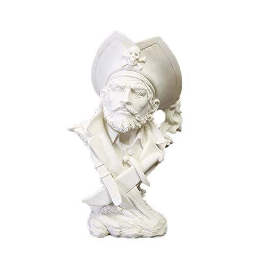 LIUSHI Escultura de Estatua de Pirata caribeño, Estatua de Personaje de Resina, artesanía, Oficina en casa, decoración de Escritorio, Armario de Vino, Escritorio, balcón, decoración H31CM
