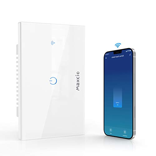Interruttore Smart, Maxcio Interruttore Alexa della Luce, Switch Wifi Compatibile con Alexa Echo, Google Home, Controllo Vocale, Maxcio APP Controllo, Funzione Timer, Condividere (1 Gang)