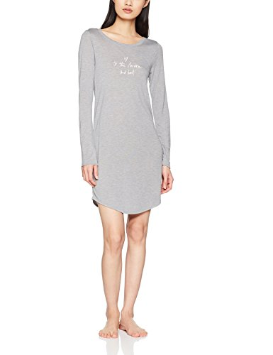 Skiny Damen Sleep & Dream Sleepshirt Langarm Nachthemd, Grau (Stone Grey Melange 4705), 36