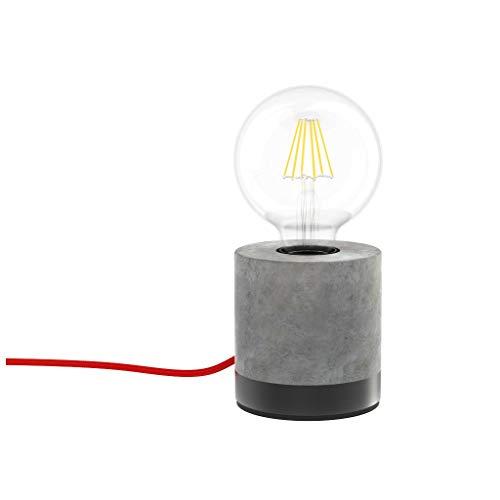 Xanlite - Lámpara de mesa LED decorativa industrial, 60 W, cable rojo