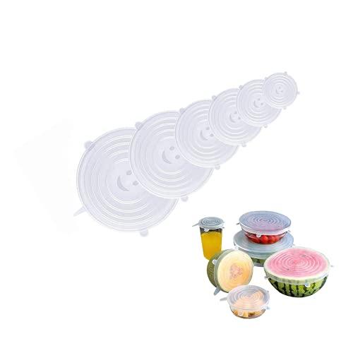 EXQULEG Tapas de silicona, 6 unidades, tapas de silicona elásticas, sin BPA, reutilizables, tapa universal de silicona para recipientes, vasos (redondos)