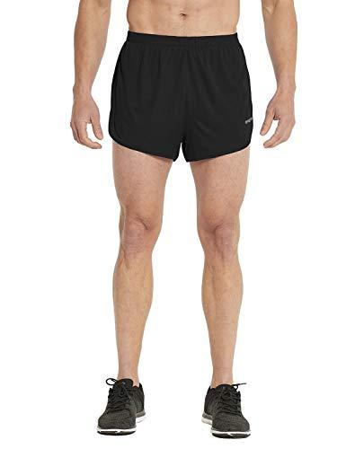 BALEAF Men's 3 Inches Running Shorts Reflective Active Gym Workout Shorts Black Size S