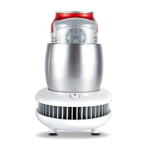 XBR Ice Bucket Cooler,Electronic Bottle Chiller, Portable Mini Refrigeration Rapid Cup Cooler, Desktop Fast Cooling Fridge Single Bottle Drink Chiller for Home & Travel Iced Beer Wine Beverage,White