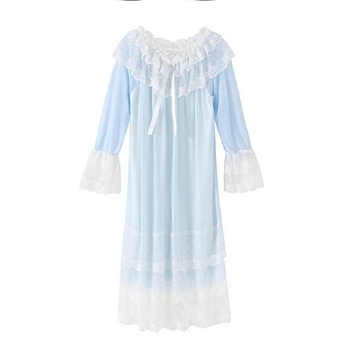 STJDM Pyjama,Damen Nachtkleid Prinzessin Nachtwäsche Multilayer Lace Mesh Romantisches Vintage Nachthemd Lounge Wear L Blau
