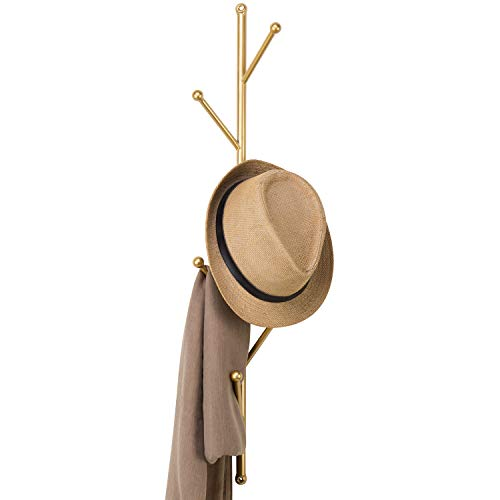 MyGift 2.5-Foot Gold Metal Tree Branch Style Wall Mounted Vertical Hat/Coat Rack