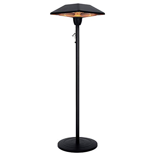 Star Patio Electric Patio Heater, Outdoor Heater, 1500W Infrared Heater with SQUARE SHAPE Matte Black Finished, Tip-Over Protection, Adjustable Height and Silent Heating Space Heater, 1566-D-S