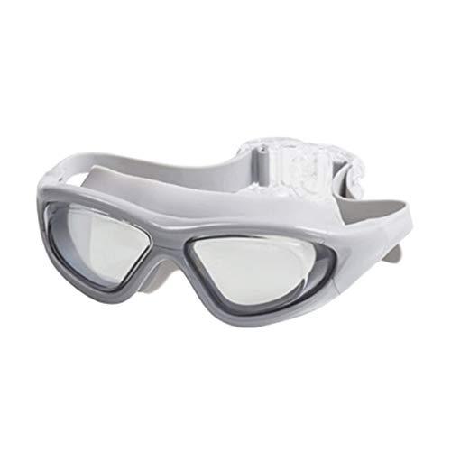 Karrychen Gafas de natación con Espejo Gran Angular y luz Plana sin Fugas, protección contra Rayos UV, Color Blanco