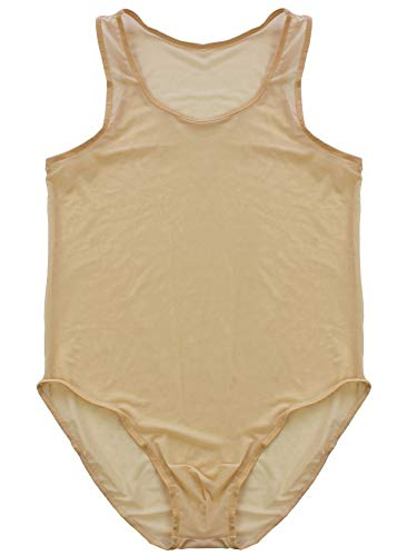 Mendove Men's See Through Leotard Singlet Bodysuit US M Nude
