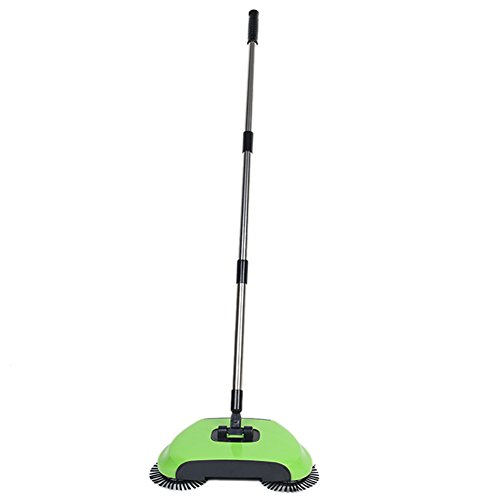 Dracarys Lazy 3 in 1 Household Cleaning Hand Push Automatic Sweeper Broom – Including Broom & Dustpan & Trash Bin – Cleaner Without Electricity Environmental (Green)