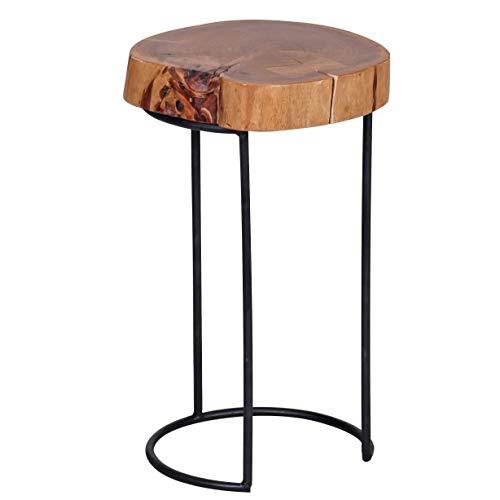 WOHNLING Beistelltisch Massiv-Holz Akazie Wohnzimmer-Tisch Metallbeine Landhaus-Stil Baumstamm-Form Echt-Holz Natur-Produkt Couchtisch Modern Anstelltisch Unikat Telefontisch unbehandelt Tisch rund