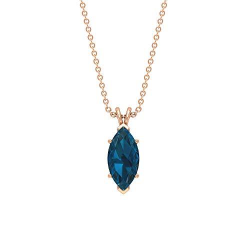 Rosec Jewels 18 quilates oro rosa marquesa Blue Topacio azul - Londres