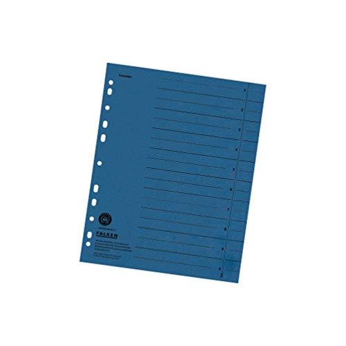 Original Falken 100er Pack Trennblätter. Made in Germany. Aus Recycling-Karton für DIN A4 blau Trennlaschen Trennblätter Ordner Register Kalender Blauer Engel
