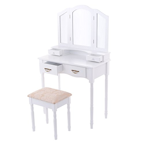 Best Bargain FDInspiration White Trifold Mirror Vanity Makeup Table 4 Drawers w/Stool