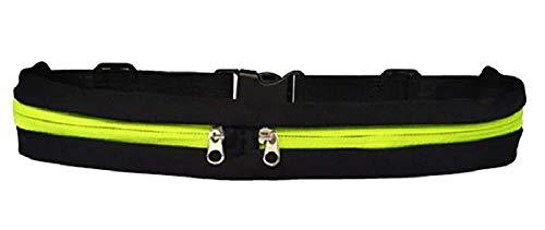 Lovelegis Riñonera Deportiva - cinturón para Correr - Deportes - Correr - Resistente al Agua - teléfono móvil - Llavero - Cierre de Cremallera - Gimnasio - Gimnasio - Negro y Verde Fluorescente