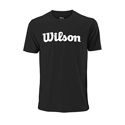 Wilson Herren UWII SCRIPT TECH TEE T-Shirt, Polyester, schwarz/weiß, L
