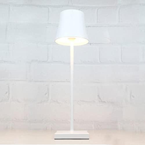 Lámpara de carga romana de estilo europeo, lámpara de escritorio impermeable inalámbrica con atenuación táctil recargable portátil, adecuada para dormitorios, restaurantes, bares, etc.-blanco