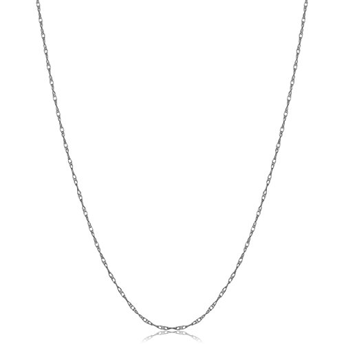 KoolJewelry Solid 10k White Gold Rope Chain Necklace for Women (0.8 mm THIN, 18 inch)