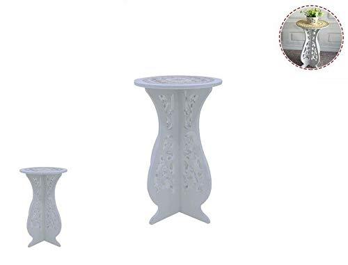 takestop® tafel van hout wit RF_65394 Merletto KenTRINO goud kunststof 30 x 60 cm tafel, bloemenvaas huis tuin landhuis shabby chic