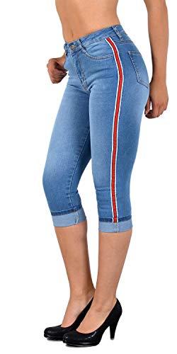 ESRA Damen Capri Jeans Hose Damen mit Seitenstreifen High-Waist Caprihose Kurze Jeans Hose mit Streifen bis Übergröße J140