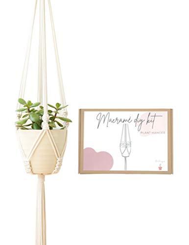 初心者向けDIYマクラメキット - ベージュ植物ハンガー - 100%コットン紐 - フランス製ハンドメイド