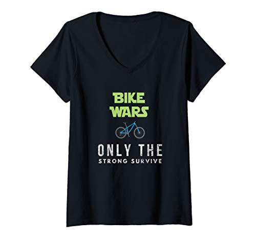 Womens Funny Best Mountain Biking Bike Wars. Boys and Girls. V-Neck T-Shirt