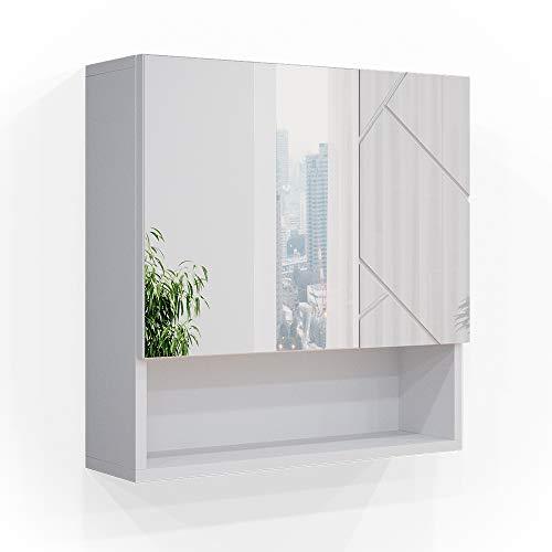 Vicco Spiegelschrank Badschrank Badezimmerspiegel Irma Spiegel Hängeschrank Bad (Weiß Hochglanz)