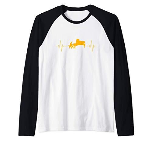 Piano de cola regalo pianista latido del corazón músico Camiseta Manga Raglan