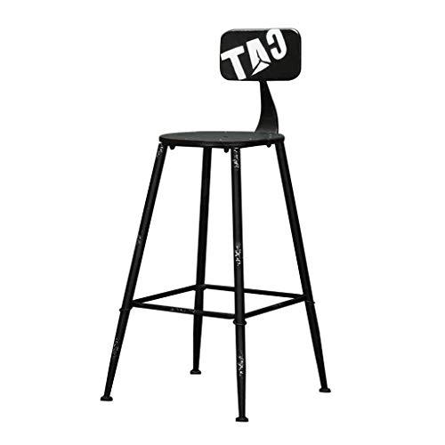 DFREW Silla de Estilo Industrial de la Vendimia Taburetes Taburete de la Barra Soporte Metálico de Diseño de la Cocina Restaurante Bar Taburete Alto Negro (Sentado Altura: 71Cm)