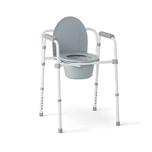 Medline 3-in-1 Steel Folding Bedside Commode, Commode Chair for Toilet is Height Adjustable, Can be Used as Raised Toilet, Supports 350 lbs