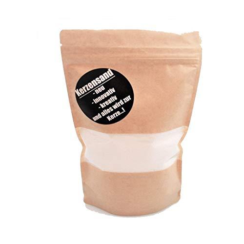 Kerzensand (inkl. 2 Dochte á 20cm - Palmwachs Wachsgranulat Kerzengranulat Kerze Wachs Teelicht - Universal einsetzbar - unvergleichbar Kreativ (Weiß) 500g