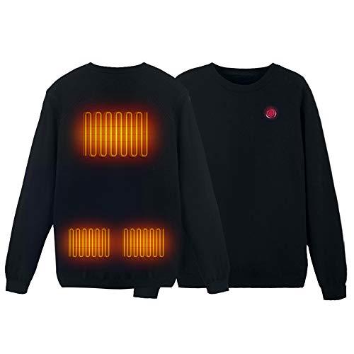 shine future Pullover Herren, Beheizbare Weste, Sweater Herren, Sweatshirt Herren, Beheizte Weste Stufe 3 Temperatur Heizjacke Herren Heizweste Pullover Sweater