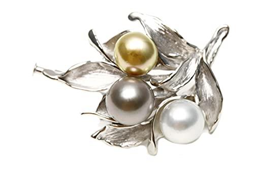 南洋白蝶真珠/タヒチ黒蝶真珠パールブローチ 3ヶ付 マルチカラー 10-9mm シルバー製